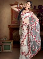 Mesmerizing Off White Embroidered Saree