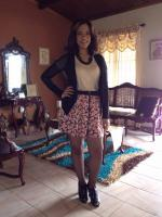 Blazer and flowery skirt!