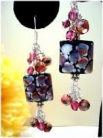 Violet Petal Lampwork Bali SterlingSilver Earrings~HSH*