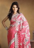 Fascinating Coral Embroidered Saree