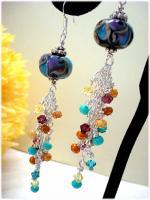 Miracle Lampwork Swarovski Crystal silver earrings~HSH*