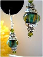 Boro Lampwork Swarovski Crystal Sterling Silver earrings~HSH*