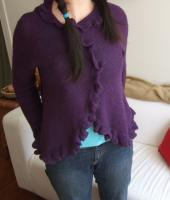 Purple Knit Sweater with Ruffles