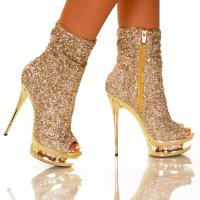 Gold Sequin Ankle Bootie