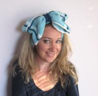 Ultimate Knit Hair Bow in Blue, Hair Ties, Headband