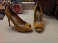 Yellow Open-Toe Pumps