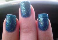 Blue Glittery Nails
