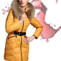 Fashion Yellow Fur Collar Hooded Belt Zipper Medium Style Winter Down