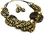Fabric Animal Print Necklace and Earring Set