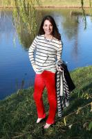 LOFT Marisa Red Velvet Pants + Striped Top