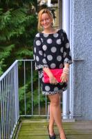 Kimono dress & hot pink