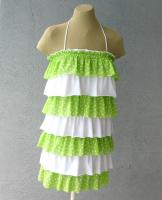 Multi Layered Summer Dress Lime Polka Dot And White