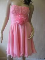 sexy little pink boob tube prom dress with centre flower