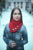 Red Wool Scarf/ Neck Warmer
