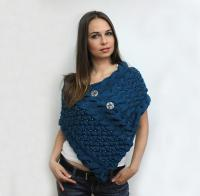 Classy elegant pearled poncho shawl COLOR OF THE MILLENIUM