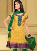 Crushed Cotton Kurti With Green And Purple Patchwork And Embroidery Patchwork