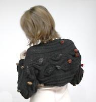 Mystic Floral Long Sleeves Shrug in Black