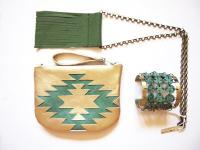Gold leather purse navajo style
