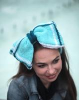 The Ultimate Blue Hair Bow on a Knit Headband