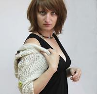 Wonderful wool semi-long sleeves shrug of floral design