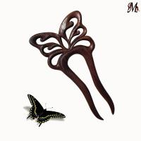 Wooden Hair Fork Butterfly