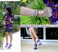 Ali Ro dress & Fendi Cuff & Electric Blue Sandals