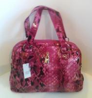 Large Pink Mock Snakeskin Handbag