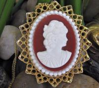 Red & White Cameo Brooch