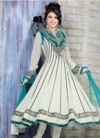 Exotic Cyan Blue & Ivory Salwar Kameez