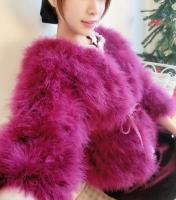 pearl decorated ostrich feather coats