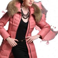 Fashion Pink Fur Collar Hooded Belt Zipper Medium Style Winter Down