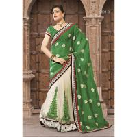 Green & Cream Georgette Saree