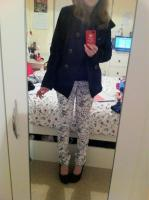 My new skinny jeans with a navy army jacket and 'Marchez Vous' shoes.