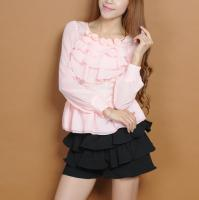2012 Fall New Arrivals Lace Matching Flounced Long Sleeve Blouse