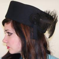 Vintage 50s BURLESQUE Black wool felt Feathered Tassle Hat