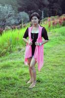 my fave long length stylish cardigan with pink & black color