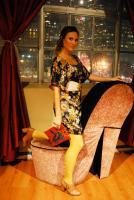 Denise in the japonai dress and blue rose vintage handbag for Bella Maven (bellamaven.com)