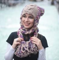 Knit Winter Hat with Tresses VIOLET RAPUNZEL