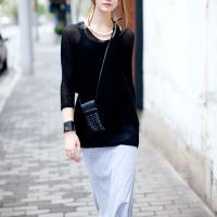2012 Autumn Black V-neck Long Sleeve Knit Sweater