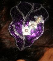 The purple silver sequence pearl headband