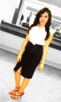pencil skirt with pearl colored blouse with red heels->20's hair