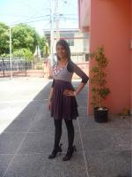 Purple & grey dress with my leggings