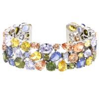 SparklesForever- Multi-Gem Cubic Zirconia Cuff Bracelet