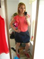 Ruffled Peach Top, Navy Poof Skirt and Red Espadrills