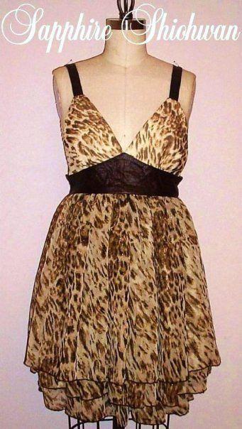 Animal Print Chiffon 3-Tier Dress