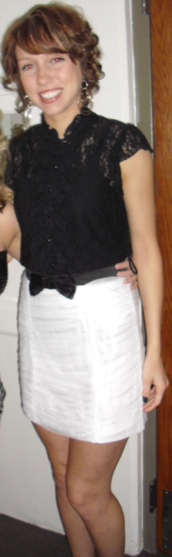 My cute lace shirt with cute white bowtie skirt