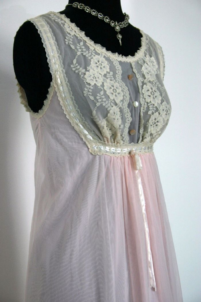 Vintage 60's Long Pink Chiffon Gilead Gown