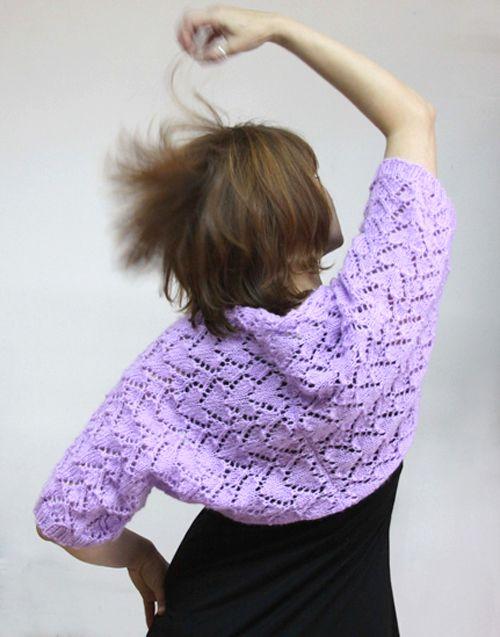 Heart Shaped Design for an Angora Shrug in Violet