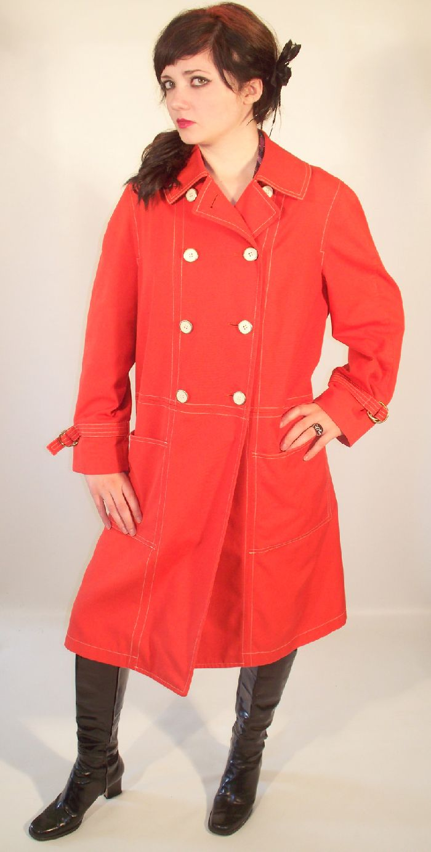 Vintage 60s MOD Tangerine SPY TRENCH Coat
