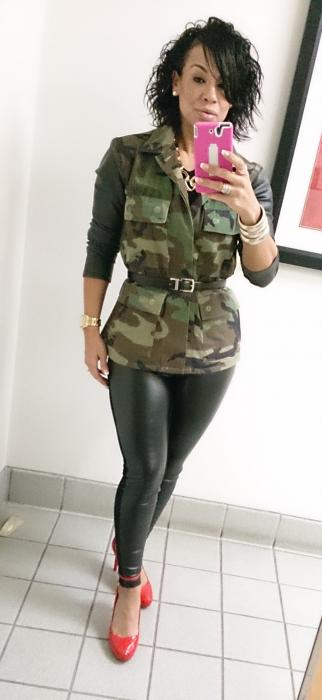 Today's Look: Camo, Leatherette & Red!